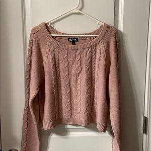 Jr Crop Sweater with Pearl Detail